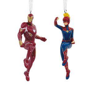 Hallmark Ornament Set- Iron Man and Capt. Marvel